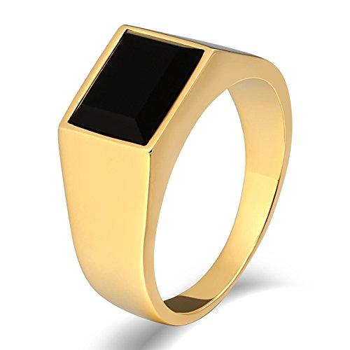 AnaZoz Men's Ring Fashion Vintage Style Gold Stainless Steel Rings Black Stone Size - Rings Tuscan Wedding