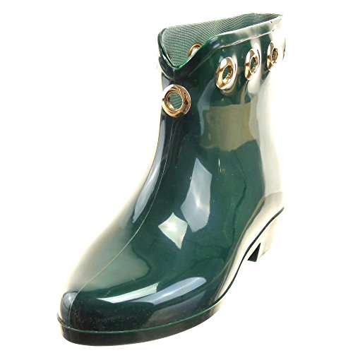 Sopily - Scarpe da Moda Stivaletti - Scarponcini Stivali pioggia donna metallico Tacco a blocco 2.5 CM - Verde
