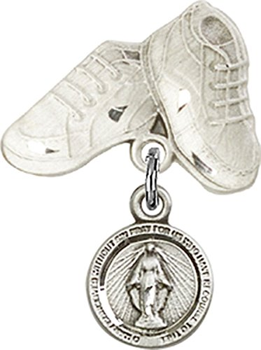 (Sterling Silver Baby Badge Baby Boots Pin with Round Miraculous Medal Charm, 3/4 Inch)