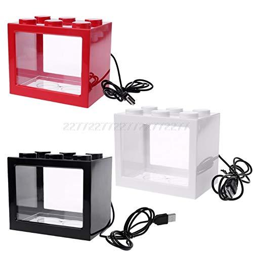 USB Mini Aquarium Fish Tank With LED Lamp Light Betta Fish Fighting Cylinder N24 ship Black, M