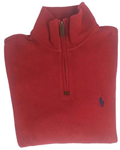 Polo Ralph Lauren Men's Half Zip French Rib Cotton Sweater (Red 2017, - Lauren Ralph Discount