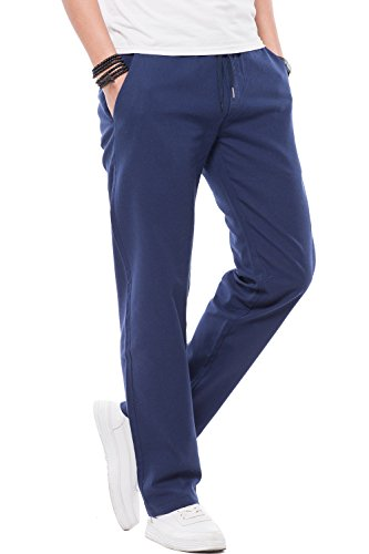 FLY HAWK Straight Leg Pants Casual Dress Workout Trousers Regular Fit Basic Chino Pants for Mens Navy Blue US Size (Mens Blended Chino)