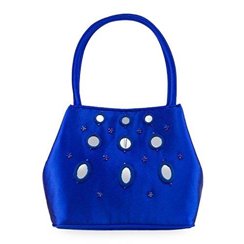 Farfalla 90094 - Bolso estilo sobre de satén mujer azul - azul (Royal)