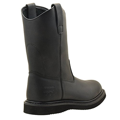 Golden Fox Mens Leather Wellington Farm & Construction Rigger Work Boots Black VEinlme2