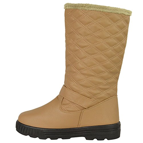Beige LINED FULLY Leather WINTER ANKLE HIGH Tan MID QUILTED FLAT WOMENS Faux SNOW FUR CALF LADIES KNEE SHOES SIZE BOOTS 0czqT