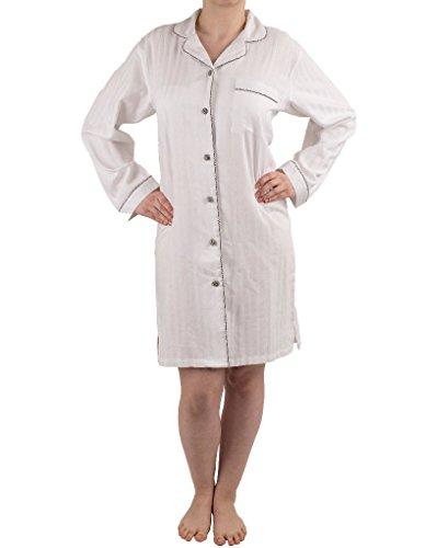 NSW Lounge Spa Chemise de Nuit à Manches Longues en Coton - Blanc 3541L