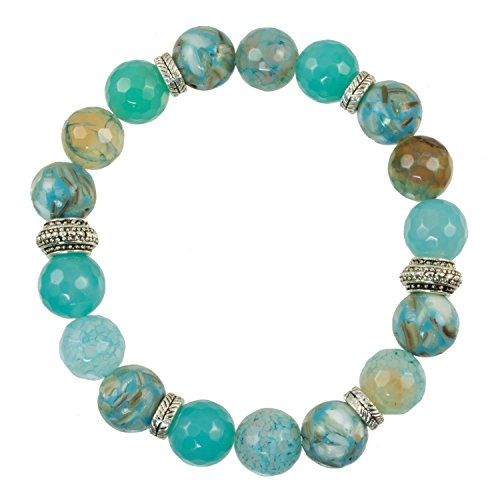 10mm Faceted Teal Fire Agate and Shell Beads with Silver-Plated Spacers - Stretch Bracelet ()