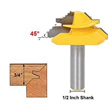Bestgle 1/2 Inch Shank Lock Miter Router Bit 45-Degree 3/4 Inch Stock Woodworking Cutter Tool 2 Inch Diameter