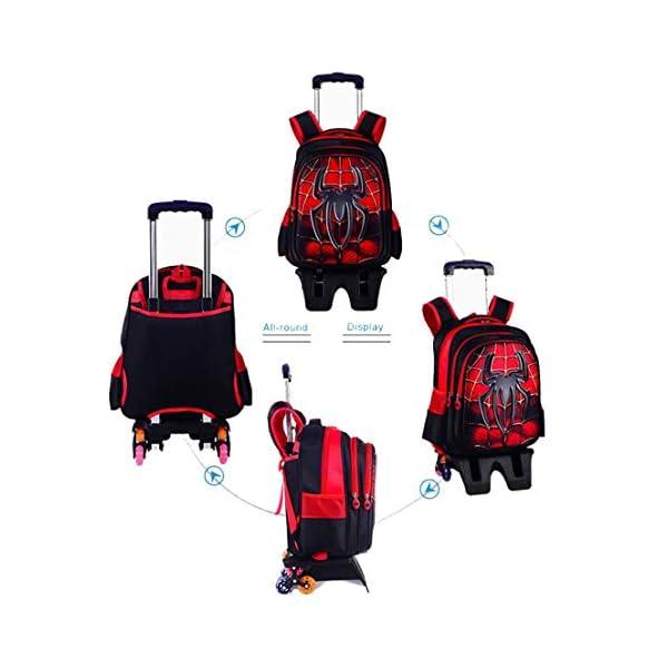 MODRYER Bambini Zaino Impermeabile Superhero Schoolbag elementare Studenti Ruote Zaino Salire Le Scale Trolley Leggero… 4 spesavip