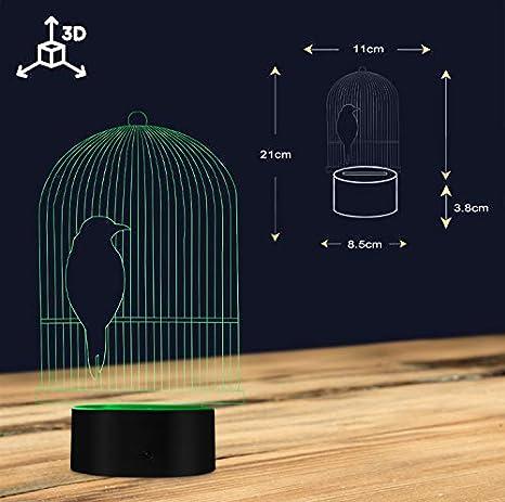 Jaula De Pájaros 3D Lámpara De Escritorio De La Ilusión Óptica Luz ...