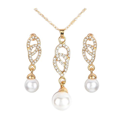 Cross-border platform jewelry jewelry 8 word double ring pearl set necklace earrings set factory direct,