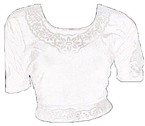 Blanco Terciopelo Top Blusa Choli para Bollywood Sari Talla M 38-40