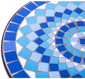 Better Homes and Gardens Beautiful Camrose Farmhouse Natural Blue Color Mosaic Tiles Bistro Table