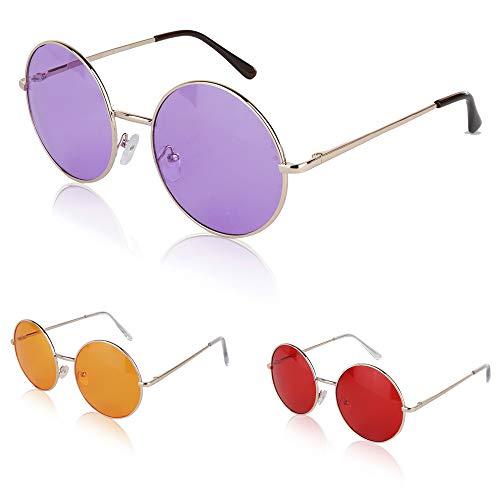 Men Man Woman Female Womans Sunglasses Guy Huge MM 60s Three Purple Red Orange 3 ()