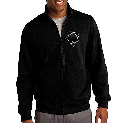 Mens Sweatshirt Poker Ace Of Spades Hoodie Jacket
