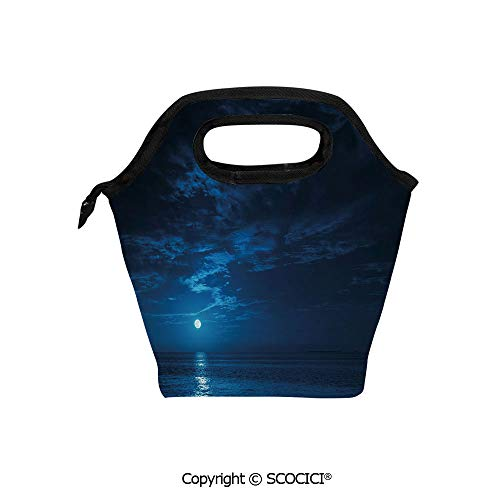 Reusable Insulated Lunch Bags with Pocket Deep Blue Moonlight Ocean Waves for Coastal Region Clouds Scenery Image Decorative for Adults Kids Boys Girls.