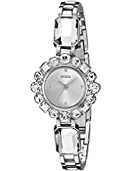 GUESS Womens U0701L1 Dressy Jewelry Inspired Silver-Tone Watch with Self-Adjustable Bracelet