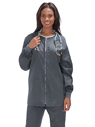 Trust Your Journey Fundamentals by White Swan Unisex Zip Front Warm Up Solid Scrub Jacket X-Large Pewter