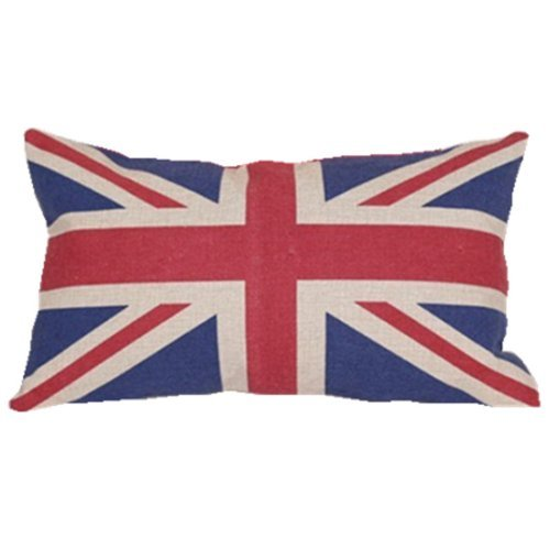 Quality Linen/cotton Fabric British Vintage Style Union Jack Flag Lumbar Pillow Cover Kidney Pillowcase