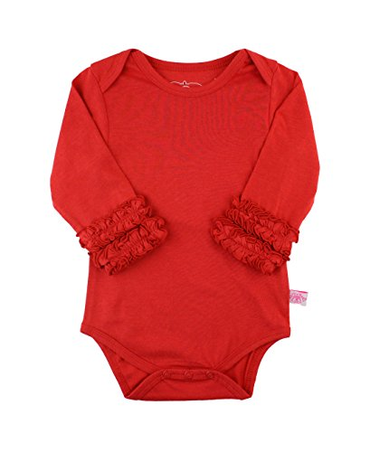 RuffleButts Baby/Toddler Girls Baby Red Ruffled Long Sleeve Layering Bodysuit - 3-6m (Glitter Onesie)