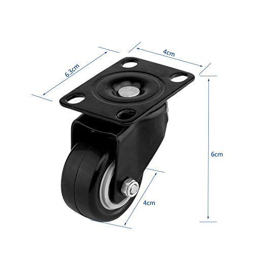 ULIFESTAR 4 PCS 1.5 inch Heavy Duty Caster Wheels Polyurethane PU Rubber Swivel Casters with Top Plate & Strong Bearing Total 400lb Quite Mute Non-Marking Locking Stem Casters Black (1.5'') by Ulifestar (Image #2)