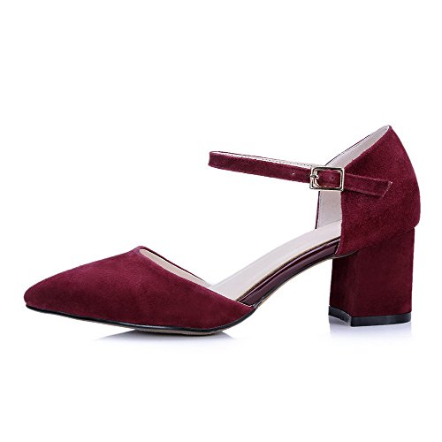AgooLar Women's Kitten Heels Frosted Solid Buckle Pointed Closed Toe Sandals Claret OBswXqKkT