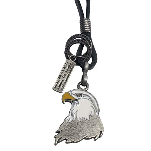 American Icons Necklace, Genuine Leather Cord Surfer Jewelry for Men & Women (Bald Eagle Head) -
