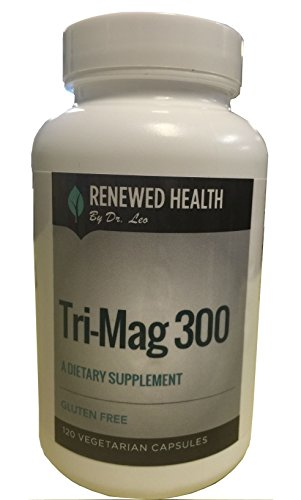 (Tri-Mag 300 120 Vege Caps Magnesium Taurate Glycinate Malate Gluten Free Combo by Renewed Health Dr.)