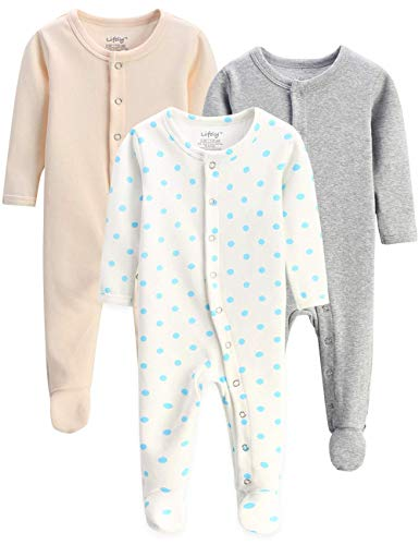 lifely 3 Pack Baby Pajamas Footed Baby Boy Girl Pajamas Cotton Infant Sleeper Footie 6-9 Months Romper Overall Baby Pajama Set Long Sleeve with Sleeve Cuff