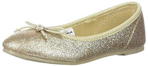 carter's Girls' Avelyn Ballet Flat, Gold, 7 M US Toddler -