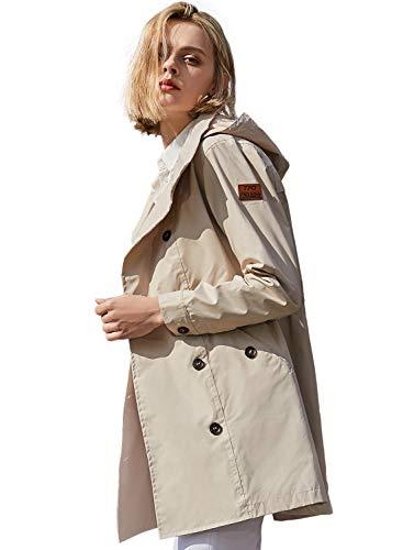 Double Breasted Raincoat - TFO Women's Rain Jacket Waterproof Lightweight Windproof Raincoats with Hood Khaki