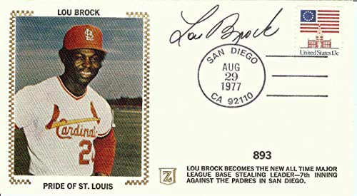 Lou Brock Signed Autographed First Day Cover Cachet 1977 Pride of STL U06532 - JSA Certified - MLB Cut Signatures