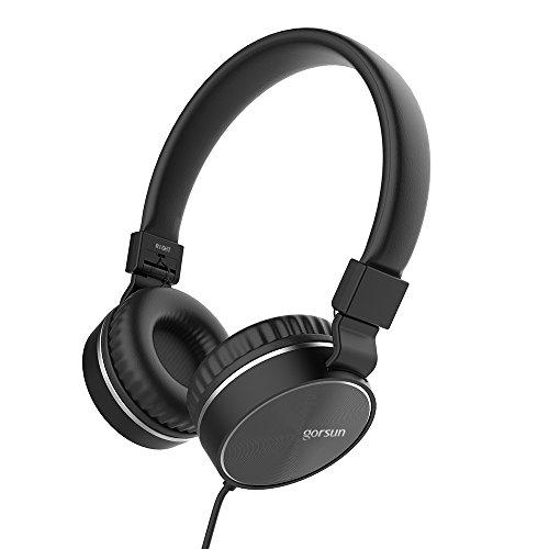 Headphones, GORSUN Microphone Volume Control Folding Lightweight Headset Cellphones Tablets Smartphones Laptop Computer PC Mp3/4(Black)