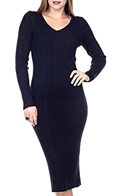 Stanzino Women's Long Sleeve Ribbed Knit Extra Stretch Sweater Dress