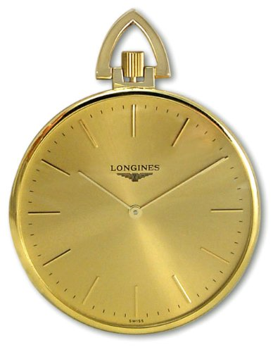 Longines 18kt Gold Mens Open Face Swiss Pocket Watch Gold Dial L7.029.6.44.1