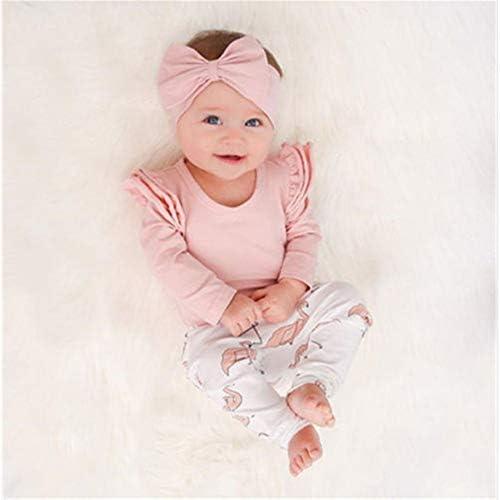 LIXIUQING Weibliche Kleinkinder Kleidung Set Herbst Reine Baumwolle Langarm Rosa Ärmel Rüschen Bodysuit + Hosen 3Stk / Set Kleinkind Weibliche Kleinkind Kleidung |Kleidungsset