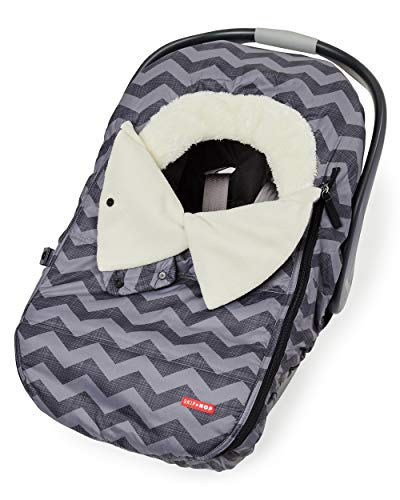 Skip Hop Stroll & Go Infant & Toddler Automotive Car Seat Cover Bunting Accessories, Universal Fit, Tonal Chevron, Black Chevron (Best Car Seat Travel Bag 2019)
