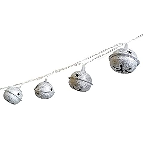 Jingle Bell LED String Lights,20-Light Silver Retro Bell Holiday Fairy Lights Battery Operated For Home, Party, Patio,Wedding,Gardens - Jingle Bell Lights