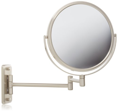 - Jerdon JP7808N 8-Inch Two-Sided Swivel Wall Mount Mirror with 8x Magnification, 13.5-Inch Extension, Nickel Finish