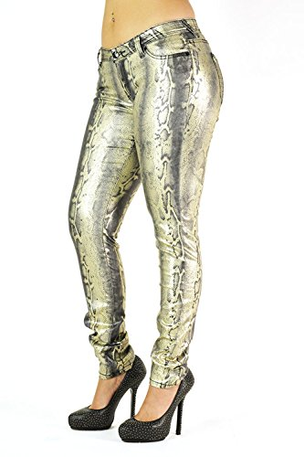 Jeans Print Metallic (Poetic Justice Women's Curvy Fit Gold Coated Stretch Denim Animal Print Skinny Jeans Size 31 x 32Length)