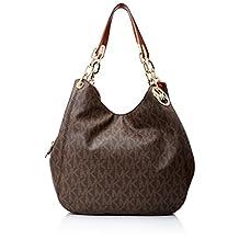 Michael Kors Brown PVC Fulton Large Signature Shoulder Bag Purse $398-