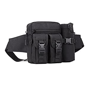 Protector Plus Mens Tactical Waist Pack Pouch With Water Bottle Pocket Holder Waterproof Molle Fanny Outdoor Hip Belt Bag for Camping Hiking Hunting Fishing Gear (black)