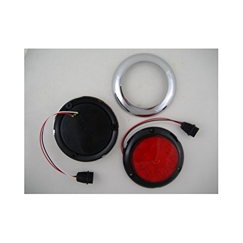 Red-10-LED-4-Round-Surface-Mount-Stop-Turn-Brake-Tail-Lights-Chrome-Bezel