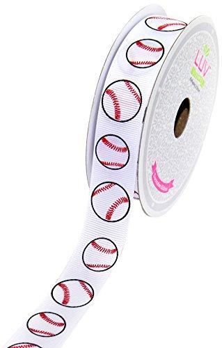 LUV RIBBONS GSO0708-BAS Grosgrain 7/8-Inch Sports Ribbon, 10-Yard, Baseball Ribbon Baseball