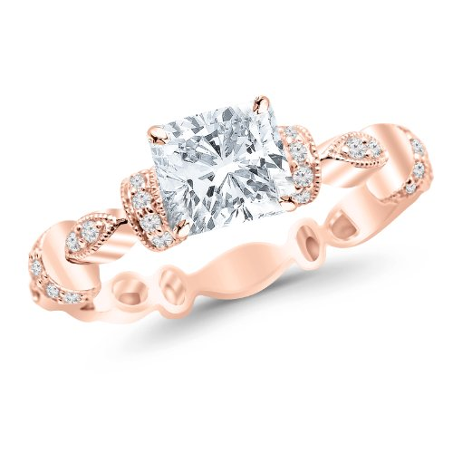 Rose Gold Petite Modern Diamond Engagement Ring with a 0.7 Carat Cushion Cut D Color SI1 Clarity Center Stone