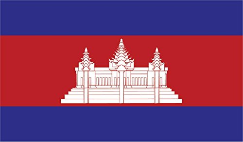(JMM Industries Cambodia Flag Vinyl Decal Sticker ព្រះរាជាណាចក្រកម្ពុជា Car Window Bumper 2-Pack 5-Inches by 3-Inches Premium Quality UV-Resistant Laminate PDS398)