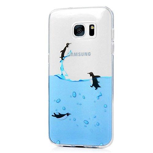 Funda para Samsung Galaxy S7 Edge, Yokata Silicona TPU Suave Ultra Delgado Carcasa Fantasía Pintado Divertido Caprichoso Kawaii Adorable Diseño Transparente Flexible Trasera Bumper Resistente a los Ar Pingüino