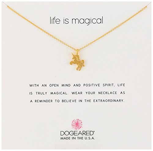 Dogeared Reminders Life Is Magical Gold Dipped Unicorn Charm Necklace, 16