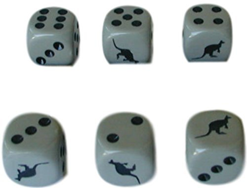 Zoo Set Die (Custom & Unique {Standard Medium 16mm} 6 Ct Pack Set of 6 Sided [D6] Square Cube Shape Playing & Game Dice Made of Plastic w/ Crazy Gambling Animals Hopping Kangaroo & Dots Design [Gray & Black])