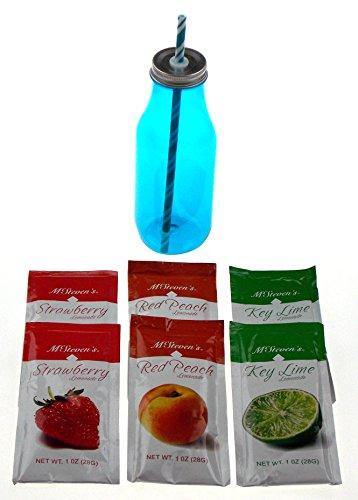 Key Lime Lemonade - Hickoryville Lemonade & Milk Bottle Cup Straw Bundle with Key Lime, Peach & Strawberry Lemonades